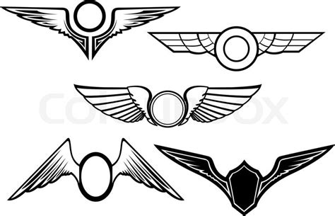 set of wing symbols isolated on white stock vector