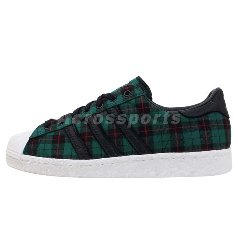 adidas originals superstar 80s green black plaid classic casual shoes sneakers ebay