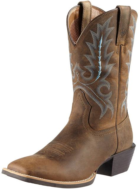ariat toe boots ariat mens square toe sport outfitter boots distressed brown