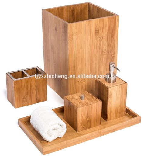 bamboo bathroom accessories set wholesale bamboo bathroom set hot selling bamboo bathroom