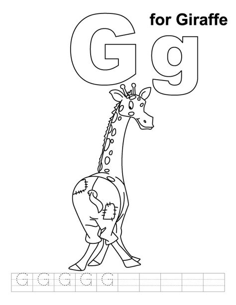 letter g giraffe coloring page g for giraffe coloring page with handwriting practice