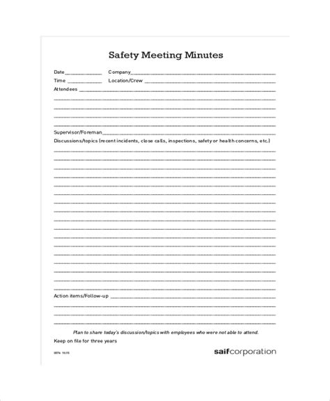Minute Template 20 Free Word Pdf Documents Download Osha Safety Committee Meeting Minutes Template