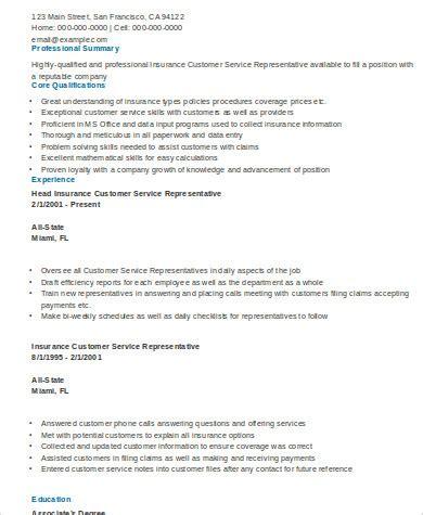 Insurance Customer Service Resume by Sle Insurance Resume 9 Exles In Word Pdf