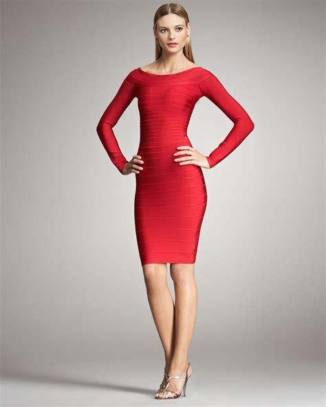 Bandage Dress herv 233 l 233 ger sleeve bandage dress in lyst