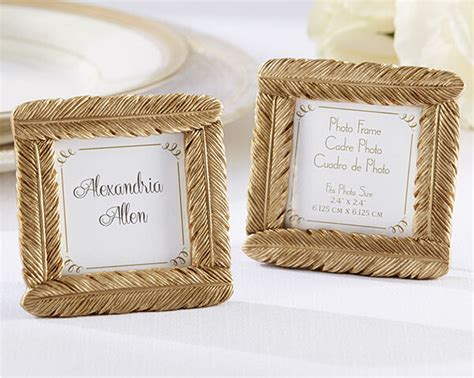 bridal shower favors picture frames free shipping 5pcs lot small size gold feather resin