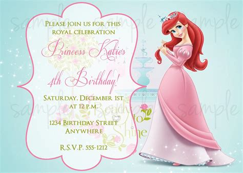 princess birthday invitations birthday party invitations