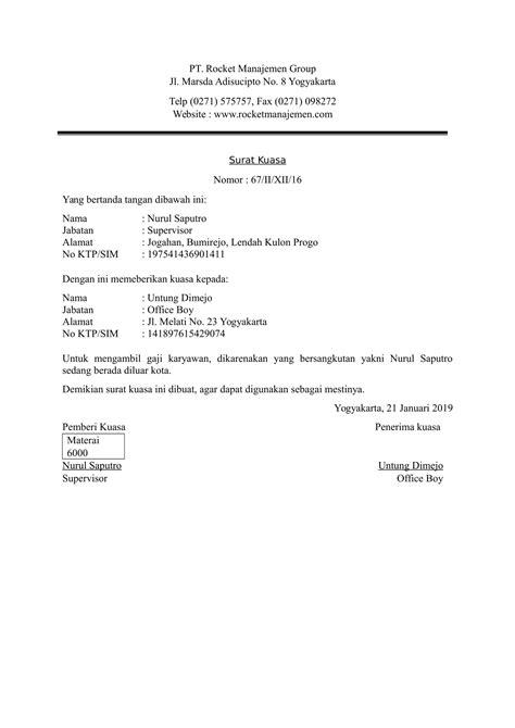 contoh surat kuasa rocket manajemen