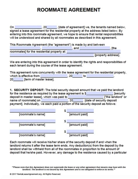 Free Roommate Agreement Template Form Adobe Pdf Ms Word Roommate Rental Agreement Template