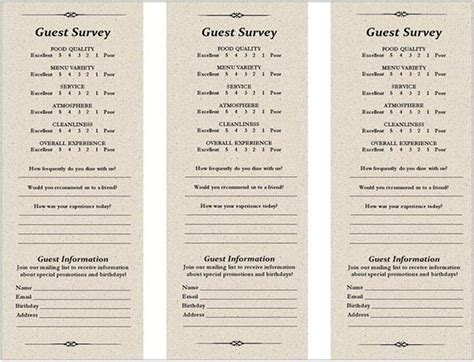 restaurant comment card free templates comment card template free premium templates