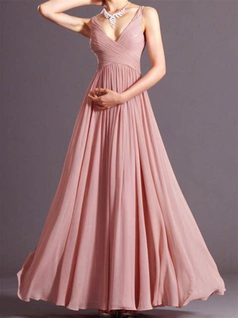 women dusky pink pleated  neck spaghetti straps prom