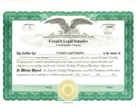 personalize limited liability certificates print