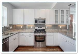 Kitchen Backsplash With White Cabinets Featuring White Cabinet Kitchen Ideas Home And Cabinet Reviews