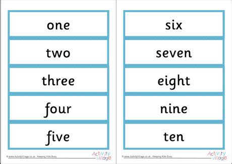 printable number and number word cards number word cards 1 10