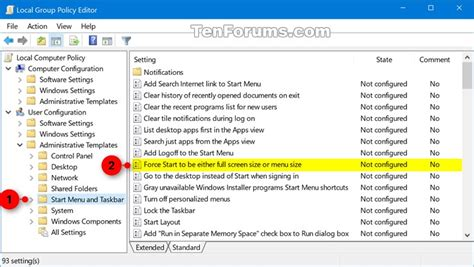 start menu layout windows 10 gpo turn on or off full screen start menu in windows 10