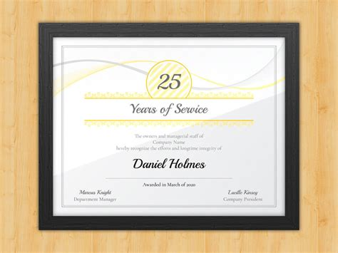 longevity years of service certificate award avenue