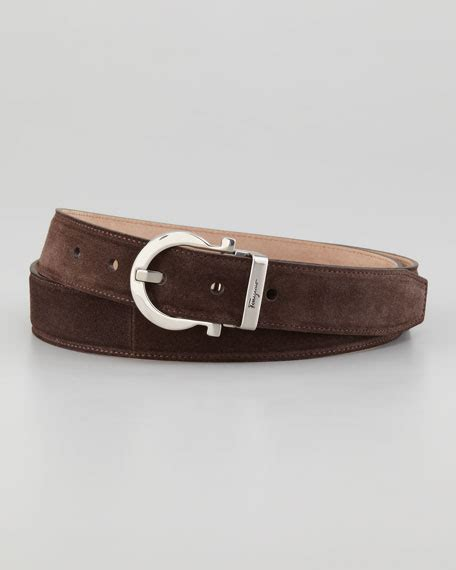 salvatore ferragamo suede gancini belt brown