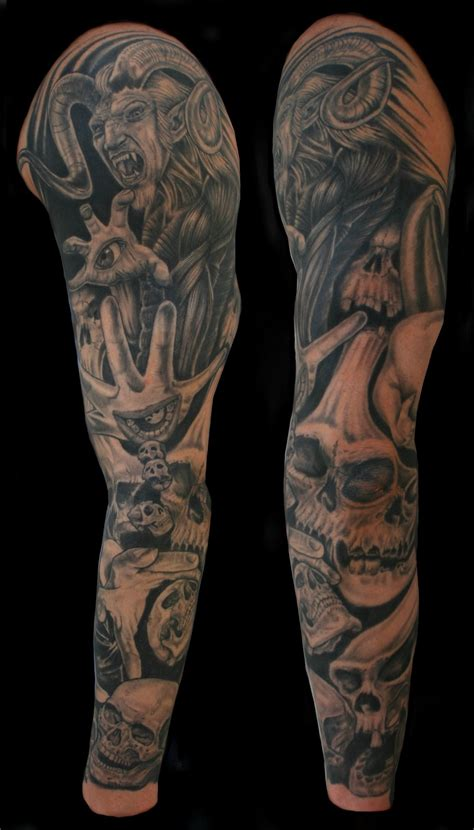 demon sleeve tattoo designs grey ink skull and satan sleeve