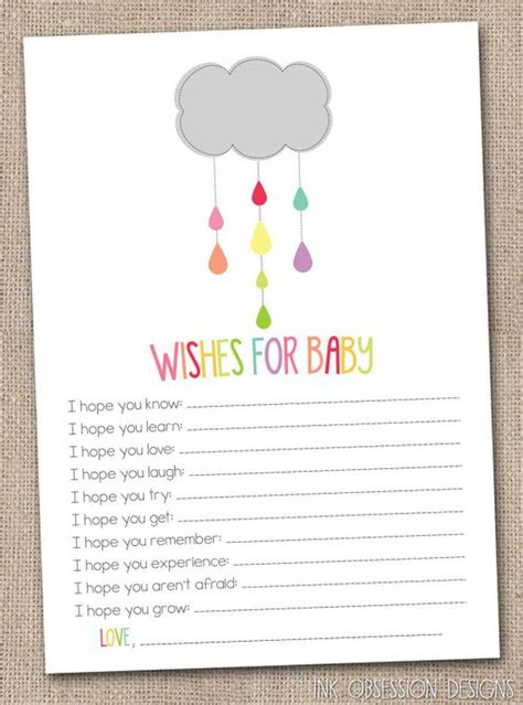 baby shower wish cards template printable baby wishes card colorful shower cloud gender