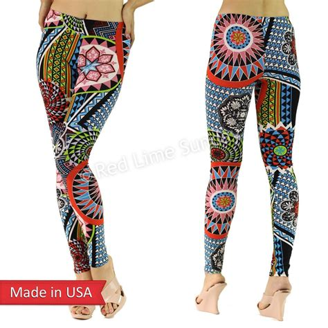 Rich Cotton Legging Flowers Rainbow pop geometric floral flower print color cotton tights usa