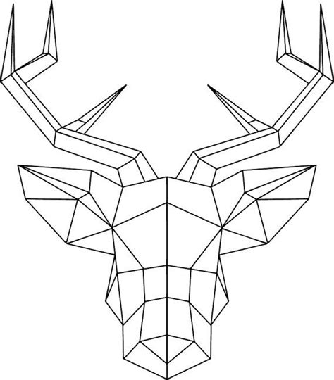 Geometric Deer Head With Antlers Wallsticker By Geometric Drawings To Color