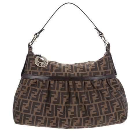 fendi monogrammed chef bag  brown lyst