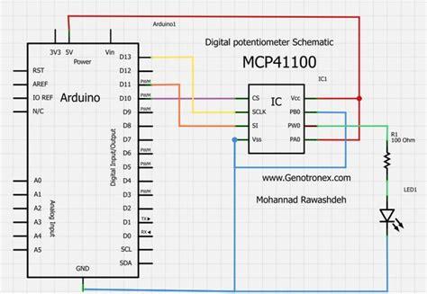 digital resistor spi digital potentiometer mcp41100 and arduino