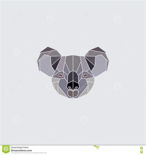 koala head logo stock vector illustration of geometric