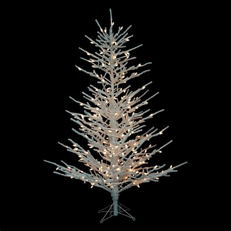 white metal tree with lights barcana 8126904001 4 flocked twig tree with clear lights