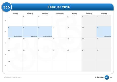 Kalender 2016 Februar Kalender Februar 2016