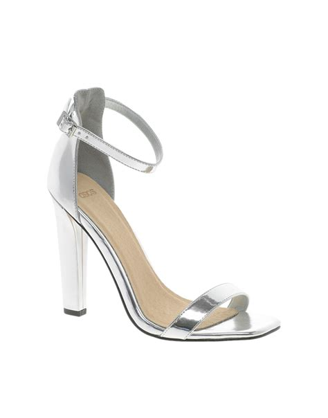 silver heeled sandals lyst asos hoxton heeled sandals in metallic