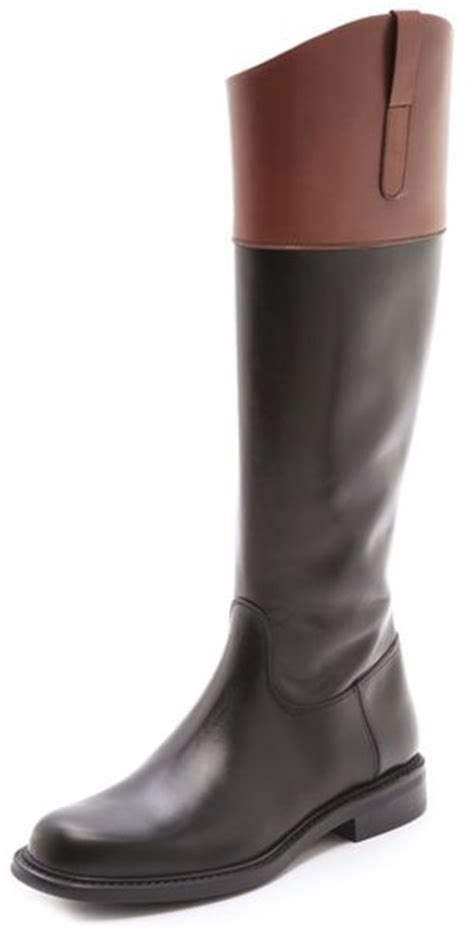 two toned boots studio pollini two tone boots in brown black lyst