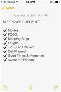 List Of Overnight by Sleepover Checklist Sleepover Ideas Of Course Food Pint
