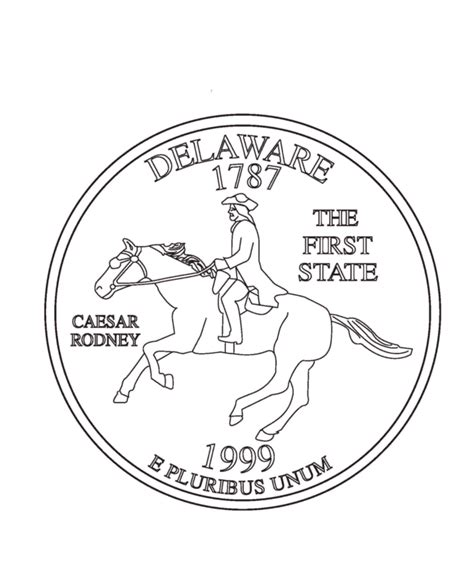 coloring page of quarter delaware state quarter coloring page coloring pages quarter
