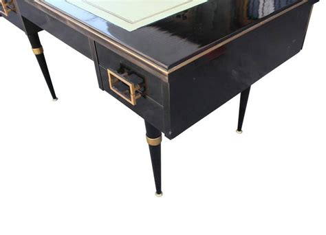 black and brass desk l modern black lacquer executive desk with brass accents and