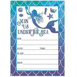 The Sea Invitation Template by Mermaid Watercolor Birthday Invitations For
