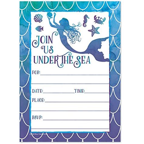 mermaid watercolor birthday party invitations for girls