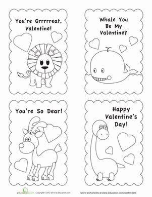 Valentine Card Template Worksheet Education Com Card Templates To Color