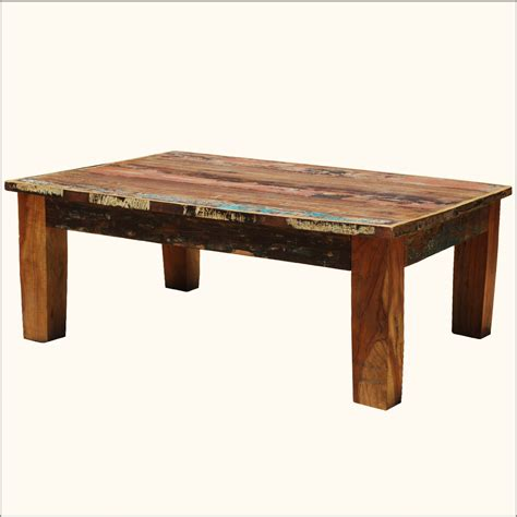 Coffee Table Rustic Wood Distressed Rustic Reclaimed Coffee Table Wood Multi Color Cocktail Furniture Ebay
