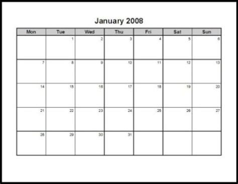 Monthly Calendars 2008 12 Pages Landscape