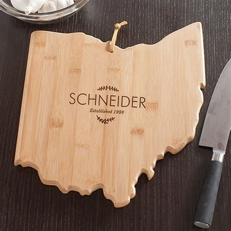 family name personalized bamboo cutting board personalized family name ohio state cutting board gifts