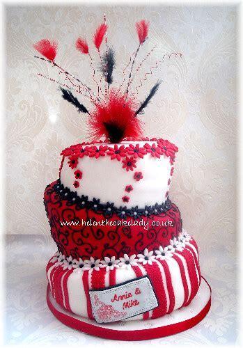 Topsy turvy Ruby wedding anniversary cake   A topsy cake