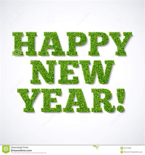 happy new year card green grass stock vector illustration of lush nature 45711052