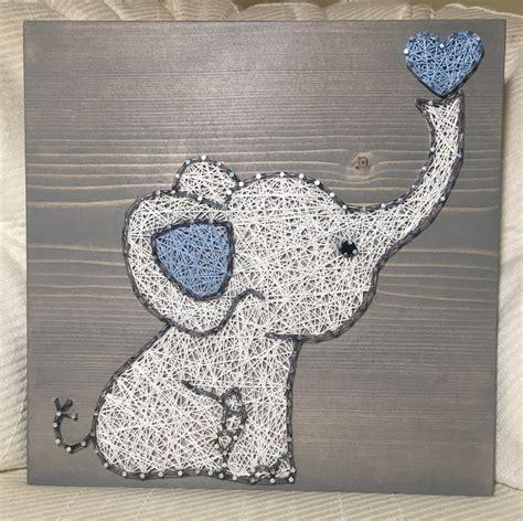 String Elephant - custom elephant string sign baby elephant by