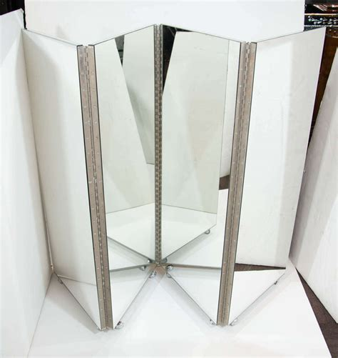 mirrored room divider vintage mid century modern four panel mirrored screen and room divider at 1stdibs