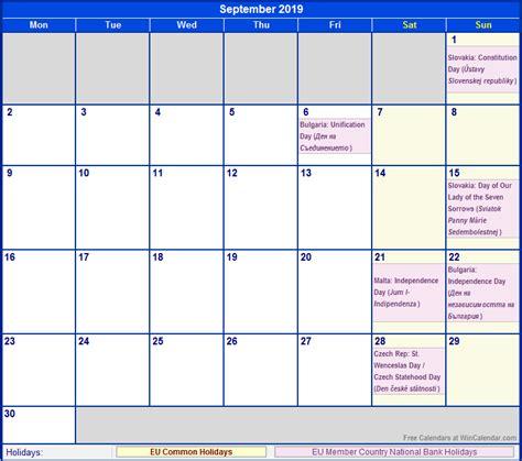 Calendar September 2019 September 2019 Calendar With Holidays 2018 Calendar