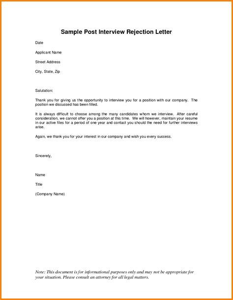 Decline Position Letter new employment rejection letter cover letter exles