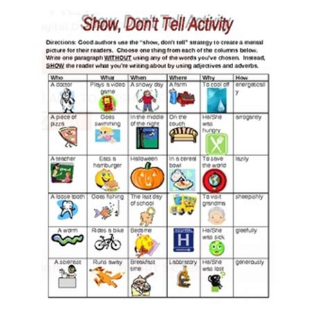 Show Don T Tell Worksheet by Beg Borrow And Teach Show Don T Tell