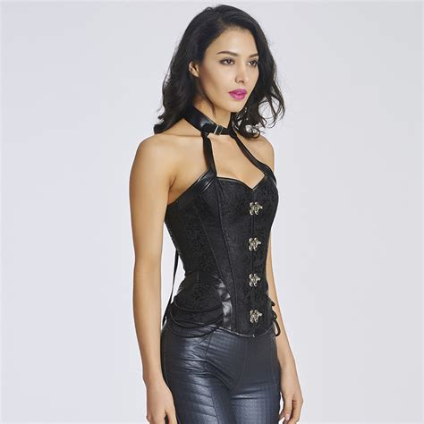 aliexpress buy vintage brown brocade halter collar steunk corset waist trainer steel buy wholesale leather halters from china leather halters wholesalers