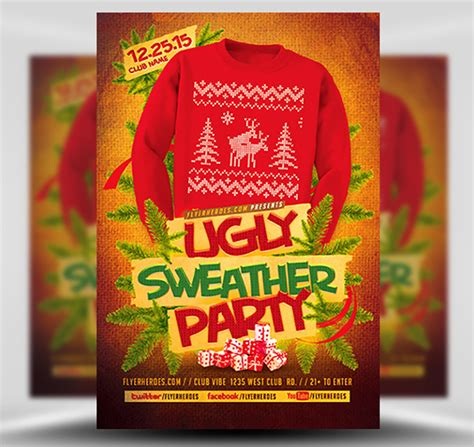 Ugly Sweater Flyer Template 2 Flyerheroes Sweater Flyer Template