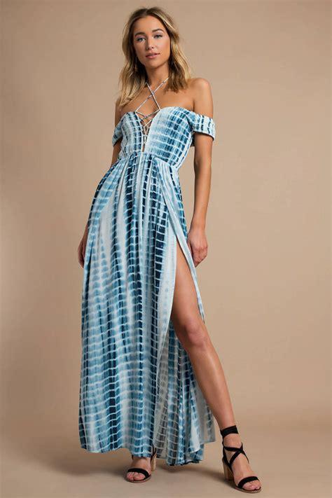 trendy blue maxi dress open shoulder maxi dress blue tie dye 27 tobi us